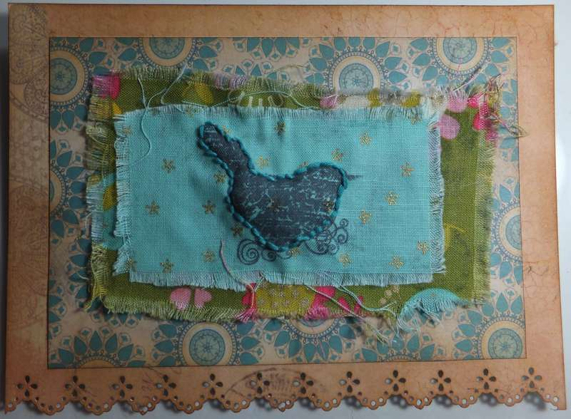 card with fabric