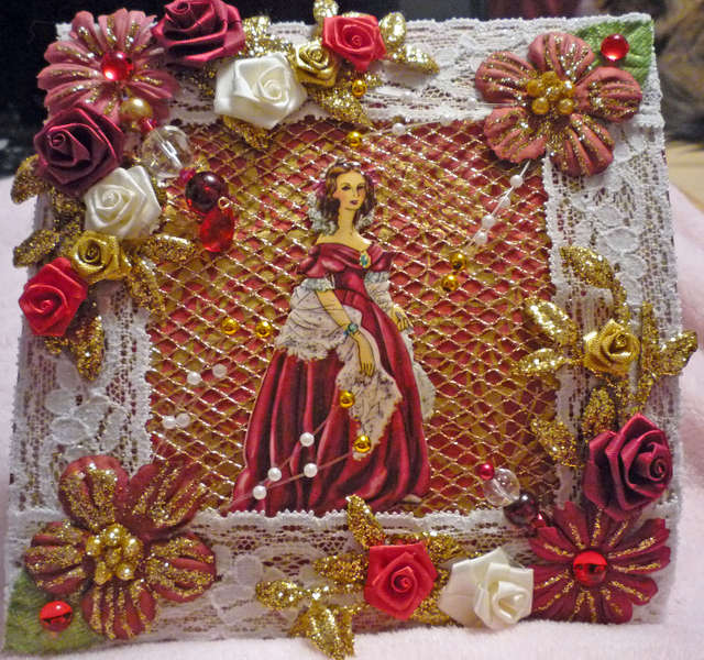 Red and Gold Victorian Woman Card Topper