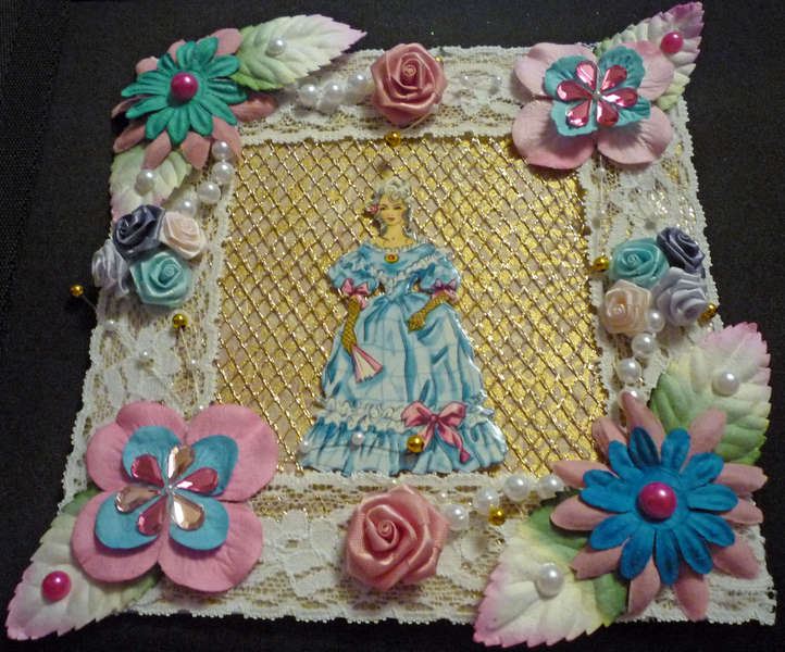Blue and Pink Victorian Woman Card Topper