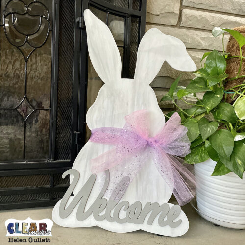 DIY Wood Bunny Welcome Sign