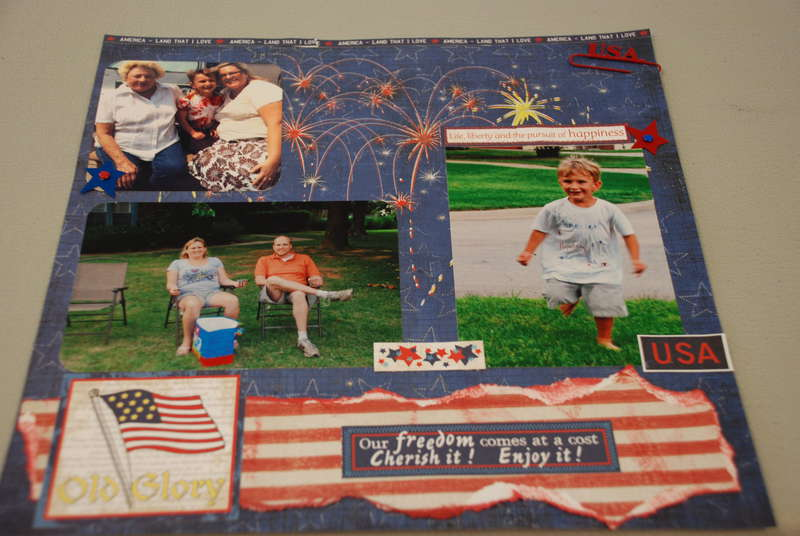 4th of July layout with Fireworks paper