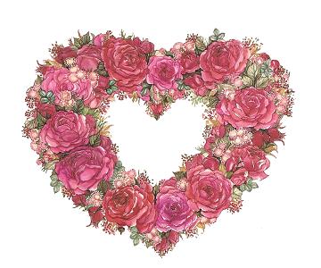 Rose Heart Wreath Block