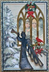 Cathedral Window Card - Angel