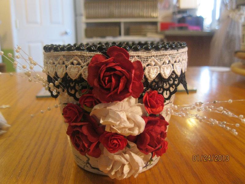 Crackled painted flower pot