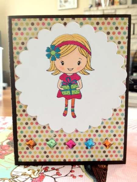 Girl with gift birthday card