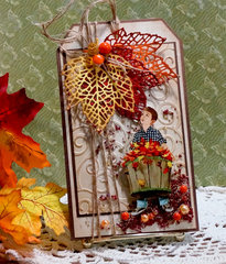 Falling Leaves Tag. Reneabouquets Printed Beautiful Board Chipboard - Little Wally