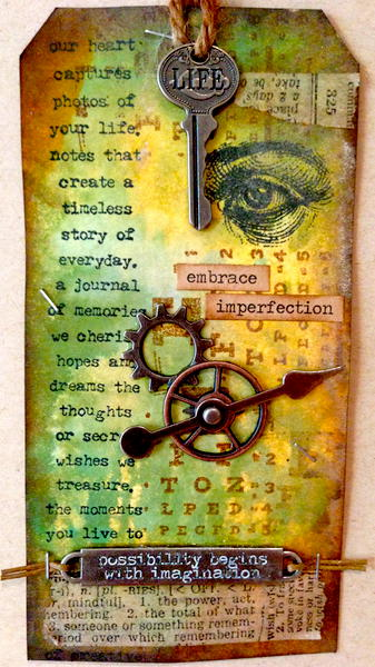 Embrace Imperfection - Tim Holtz Inspired Tag