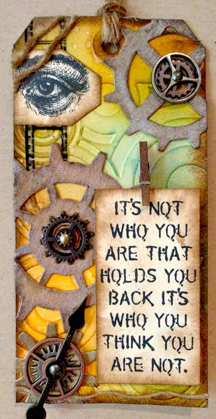 Don't Hold Back - Tim Holtz Inspired Tag