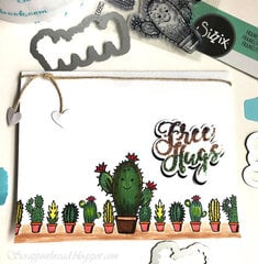 Free Hugs card with Tombows and glitter