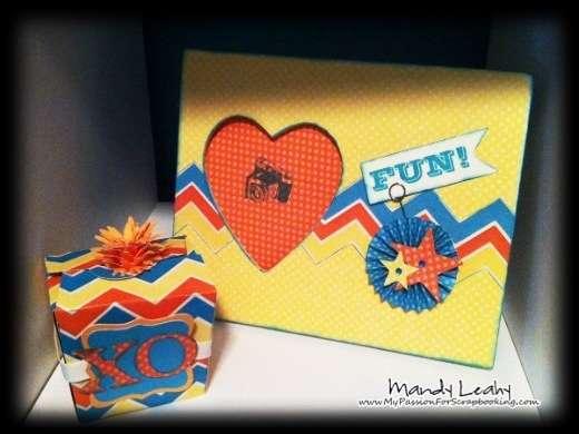 Bright & Colorful Frame & Matching Box using CTMH Art Philosophy Cricut Cartridge