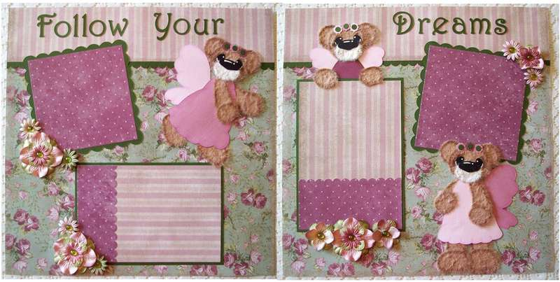 Girl Tear Bear Fairy Premade Scrapbook Pages