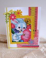 Easter Card Colorful Bunny