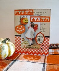 Halloween Card Girl with Orange
