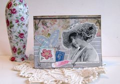 Note Card Flowery Hat