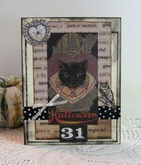 Halloween Card Vintage Cat