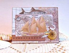 Note Card Ship & Fish