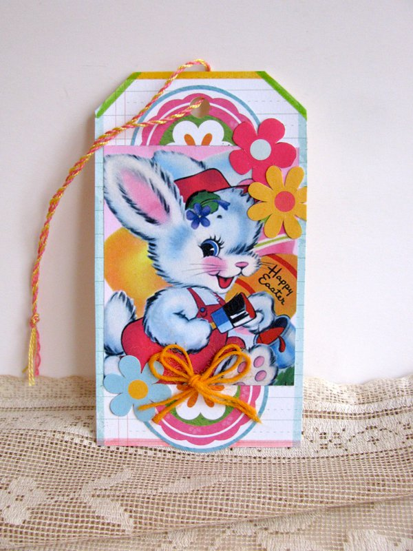 Easter Tag Colorful Bunny