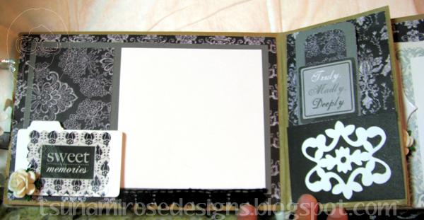 B & W monochromatic wedding mini paper bag album.