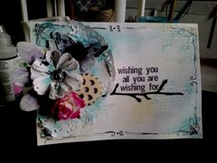 'wishing you' mixed media card