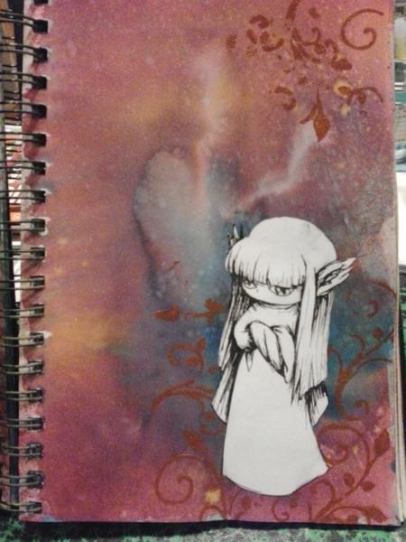 duo art journal page - little elfs