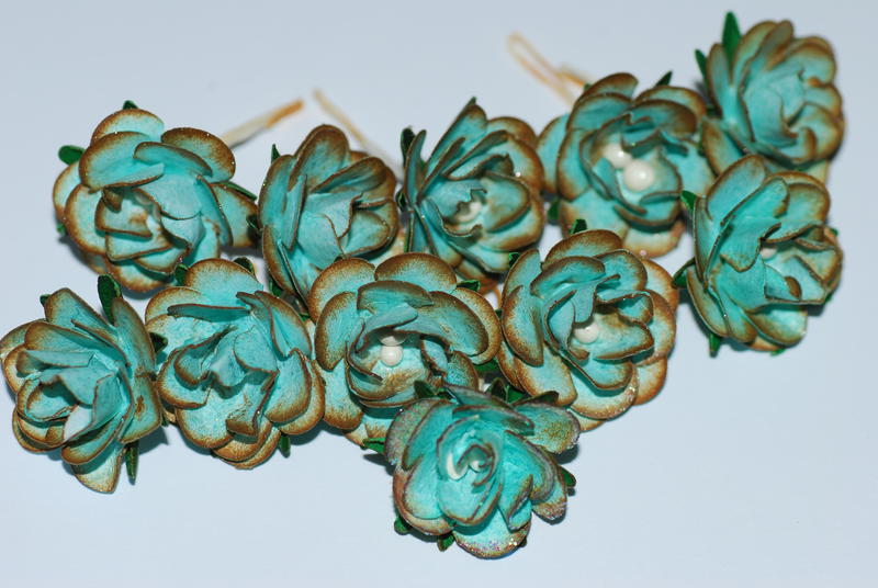 Handmade Mini Cardstock Roses for Swap - Macro