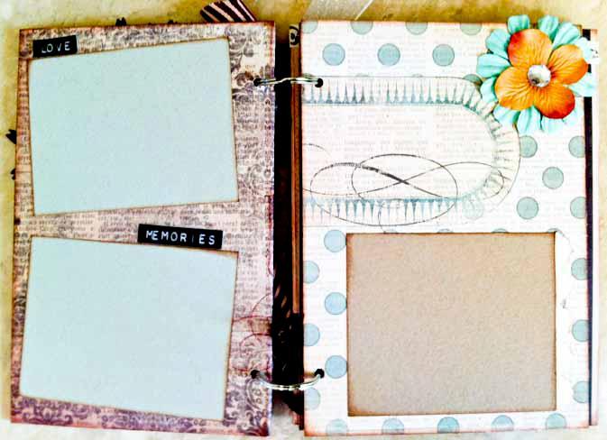 Love Chipboard Mini Album - Inside Pages