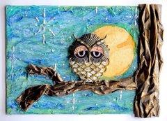 Sleepy Owl Canvas *** Flying Unicorn CT ***