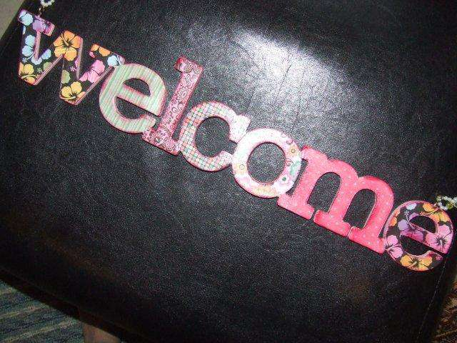 Cardboard Welcome Sign Decorated