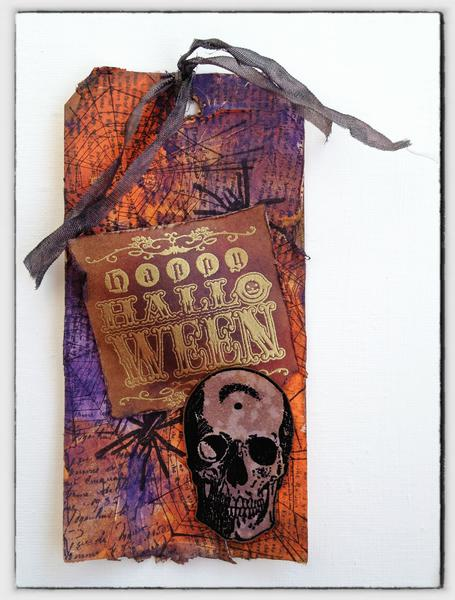my version of Tim Holtz's OCTOBER 2012 tag...