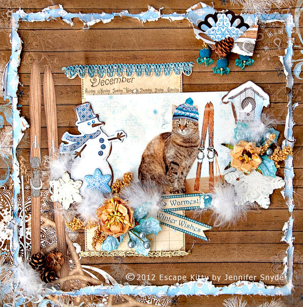 Escape Kitty - Alpine Snow Kitty -Scraps of Elegance