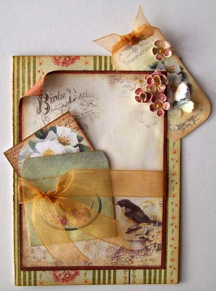 Vintage card - bird & mini envelope~