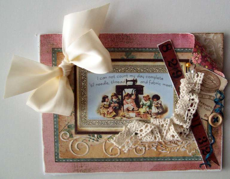 """Vintage """"sewing"""" card"""