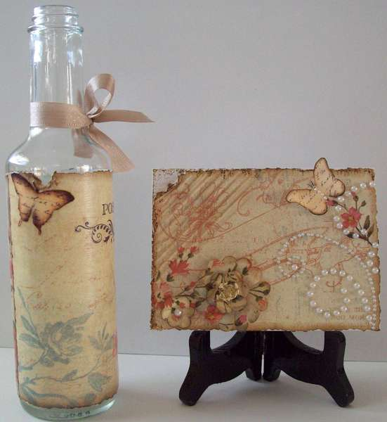 (left side view of) Decoupage bottle vase and matching card -  gift