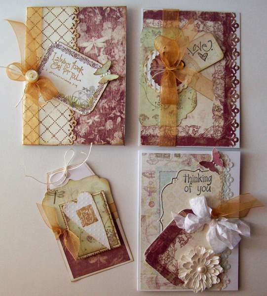 Set of 4 sorta vintage cards and tag ~  (mission table sale)