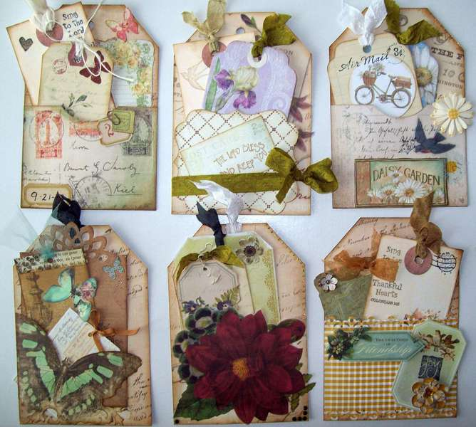 Vintage birthday cards tag and photo holders~~