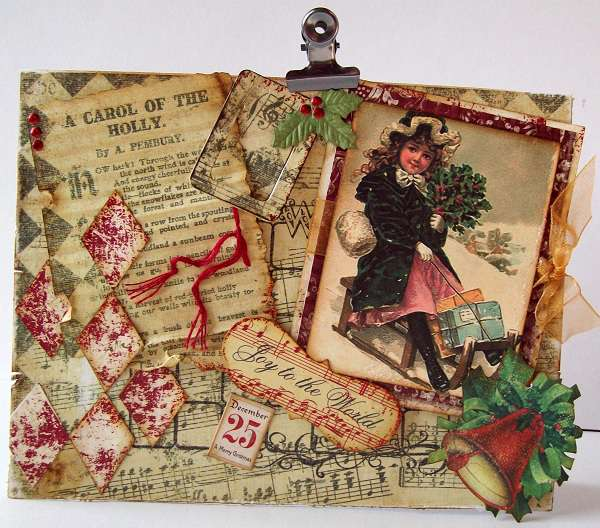 Vintage Christmas card  Joy To The World!