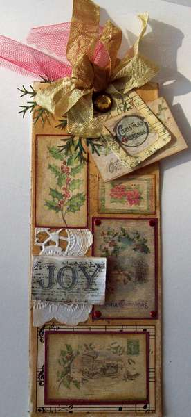 long vintage Christmas tag - JOY