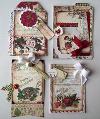 4 vintage look Christmas cards