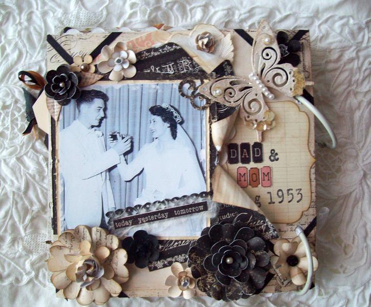 Vintage Family Wedding Album 6X6  ~Blue Fern butterfly