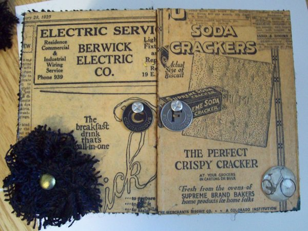 Top of altered cigar box 1928 vintage newspaper