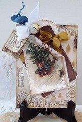 Vintage Christmas card -boy sled ride  tag card~