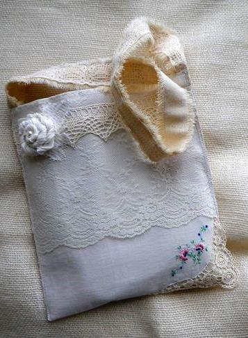 Vintage inspired lace book bag purse