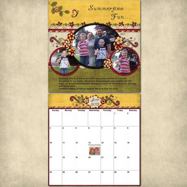 12x24 Calendar page.