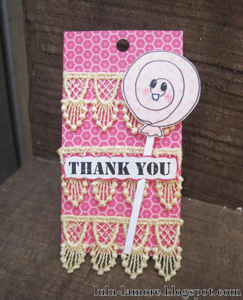 Lollipop Thank you shipping tag/card