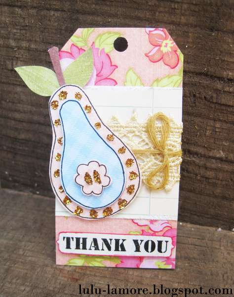 Glittery Pear Thank you shipping card/tag for etsy