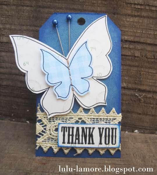 Huge Butterfly Thank you shipping card/tag for etsy customers