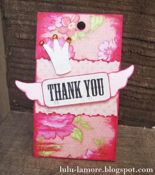 Crown and Wings Thank you shipping card/tag