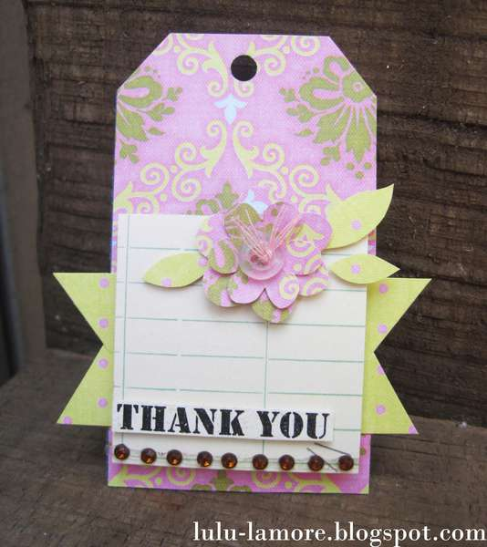 Not paper flower Thank you shipping tag/card