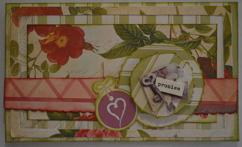 Card with flowers, a key and a heart