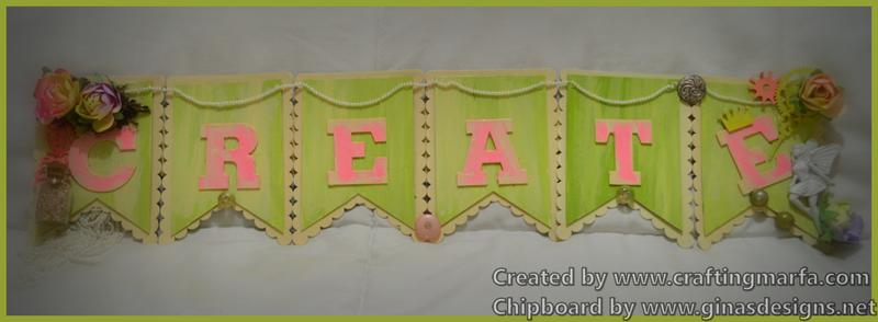 """CREATE"" Chipboard sign from Gina's Designs"